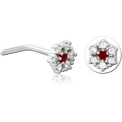 Bijou piercing nez motif fleur avec 7 strass serti tige pliée acier 316L JNO 10