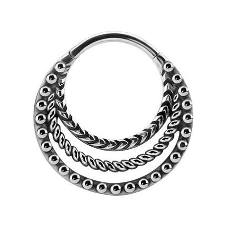 Triple anneaux fermés créole style bali avec segment à clip acier BHBS 12