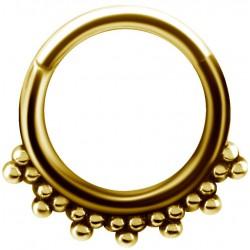 Anneau fermé créole style bali avec segment à clip acier doré or fin GPBHBS 11