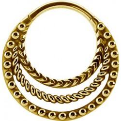 Triple anneau fermés créole style bali avec segment à clip acier doré or fin GPBHBS 12