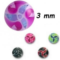 Boule acrylique U.V. symbole trinité et triskele, à visser 1,2 mm MUFB
