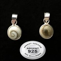 Pendentif médaillon pierre 8 mm shiva shell oeil de sainte Lucie argent 925 P 817