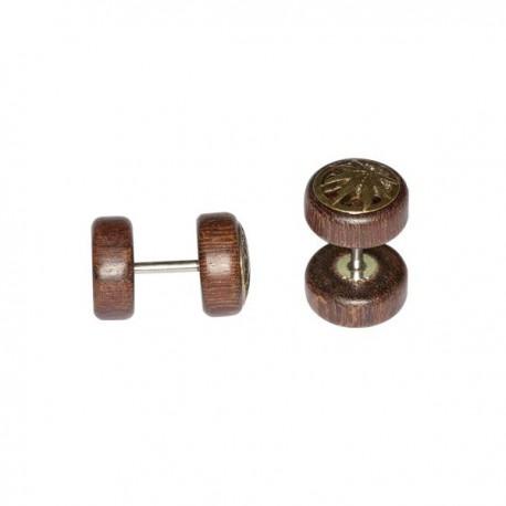 Faux plug en bois avec motif feuille pour l'oreille FUPL 35