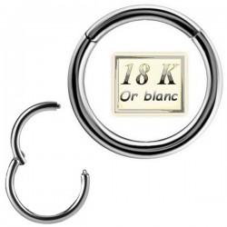 Anneau fermé avec segment à clip et charnière or blanc 18 carats 18WBH