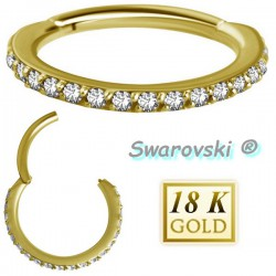 Anneau fermé avec strass de Swarovski ® sur contour or 18 carats 18BHCR
