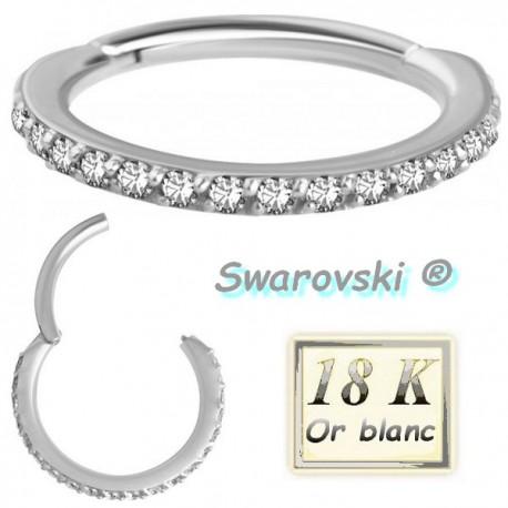 Anneau fermé avec strass de Swarovski ® sur contour or blanc 18 carats 18WBHCR