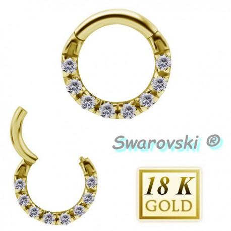Anneau avec 8 strass de Swarovski ® sur contour or 18 carats pour septum 18BHCR 04