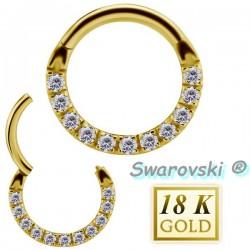 Anneau avec 11 strass de Swarovski ® sur contour or 18 carats pour septum 18BHCR 05