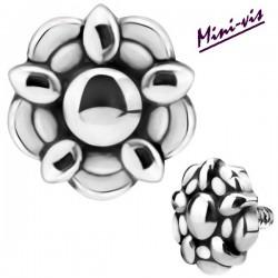 Embout motif fleur acier 316L pour barre 1,2 mm avec pas de vis interne mini 0,8 mm IA31