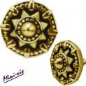 Embout motif ethnique acier doré or fin pour barre 1,2 mm avec pas de vis interne mini-vis 0,8 mm GPIA09