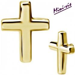 Embout motif croix acier doré or fin pour barre 1,2 mm avec pas de vis interne mini-vis 0,8 mm GPIA11