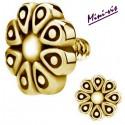 Embout motif fleur acier doré or fin pour barre 1,2 mm avec pas de vis interne mini-vis 0,8 mm GPIA06