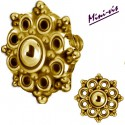 Embout motif fleur acier doré or fin pour barre 1,2 mm avec pas de vis interne mini-vis 0,8 mm GPIA04