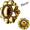 Embout motif fleur tournesol acier doré or fin pour barre 1,2 mm avec pas de vis interne mini-vis 0,8 mm GPIA05