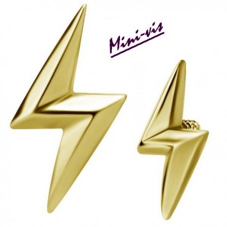 Embout motif éclair relief acier doré or fin pour barre 1,2 mm avec pas de vis interne mini-vis 0,8 mm GPIA08