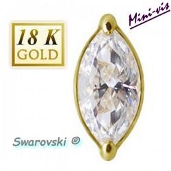 Embout grand strass blanc oval SWAROVSKI® or 18 K pour barre 1,2 mm avec pas de vis interne 0,8 mm 18MIAJ03