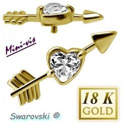Embout coeur strass blanc SWAROVSKI® flèche or 18 K pour barre 1,2 mm avec pas de vis interne 0,8 mm 18MIAJ10
