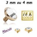 Embout brillant blanc plat pour barre 1,2 mm avec pas de vis interne mini-vis 0,8 mm, or 18 carats 18MIADJ