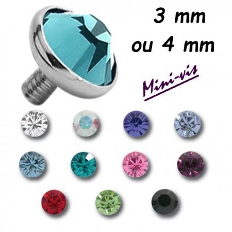 Embout brillant plat pour barre 1,2 mm avec pas de vis interne 0,8 mm, titane G23 MTIADJ