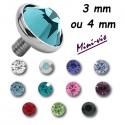 Embout brillant plat pour barre 1,2 mm avec pas de vis interne mini-vis 0,8 mm, titane G23 MTIADJ