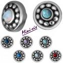Embout rond style ethnique acier 316L boule opale synthétique pour barre 1,2 mm avec pas de vis interne mini-vis 0,8 mm IA01