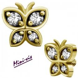 Embout papillon 4 strass Swarovski acier doré or fin pour barre avec pas de vis interne mini-vis 0,8 mm GPIAJ04
