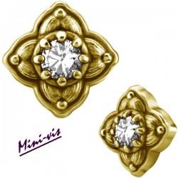 Embout fleur 1 strass Swarovski acier doré or fin pour barre avec pas de vis interne mini-vis 0,8 mm GPIAJ05