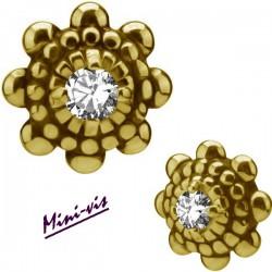 Embout fleur 1 strass Swarovski acier doré or fin pour barre avec pas de vis interne mini-vis 0,8 mm GPIAJ06