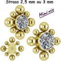 Embout losange strass Swarovski ® mini boules acier doré or fin pour barre 1,2 mm pas de vis interne mini-vis 0,8 mm GPIAJ15