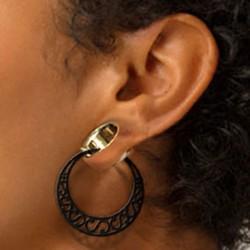 Boucles d'oreille créole style ethnique acier 316L noir BKHT 007