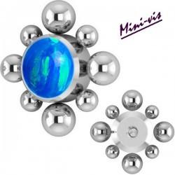 Embout losange 1 strass opale synthétique et minis boules titane pour barre 1,2 mm avec pas de vis interne mini-vis 0,8 mm IAJ06