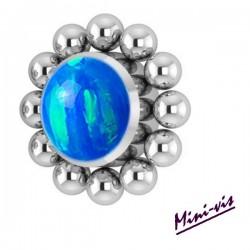 Embout fleur 1 strass opale synthétique et minis boules titane pour barre 1,2 mm avec pas de vis interne mini-vis 0,8 mm IAJ07