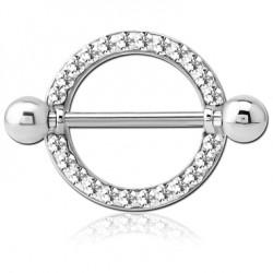 Bijou téton motif contour anneau avec strass blanc - barre 1,6 mm acier 316L SNS 93