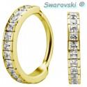 Anneau fermé large avec strass de Swarovski ® carrés sertis acier doré or fin GPBHJ 21