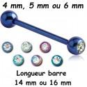 Barre 1,6 mm titane G23 coloré anodisé boules et 1 brillant blanc ATBLJ