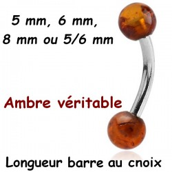 Bijou nombril acier 316L 2 boules ambre véritable AMBND