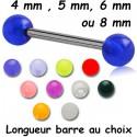 Barre 1,6 mm acier 316L boules acrylique U.V. BLU