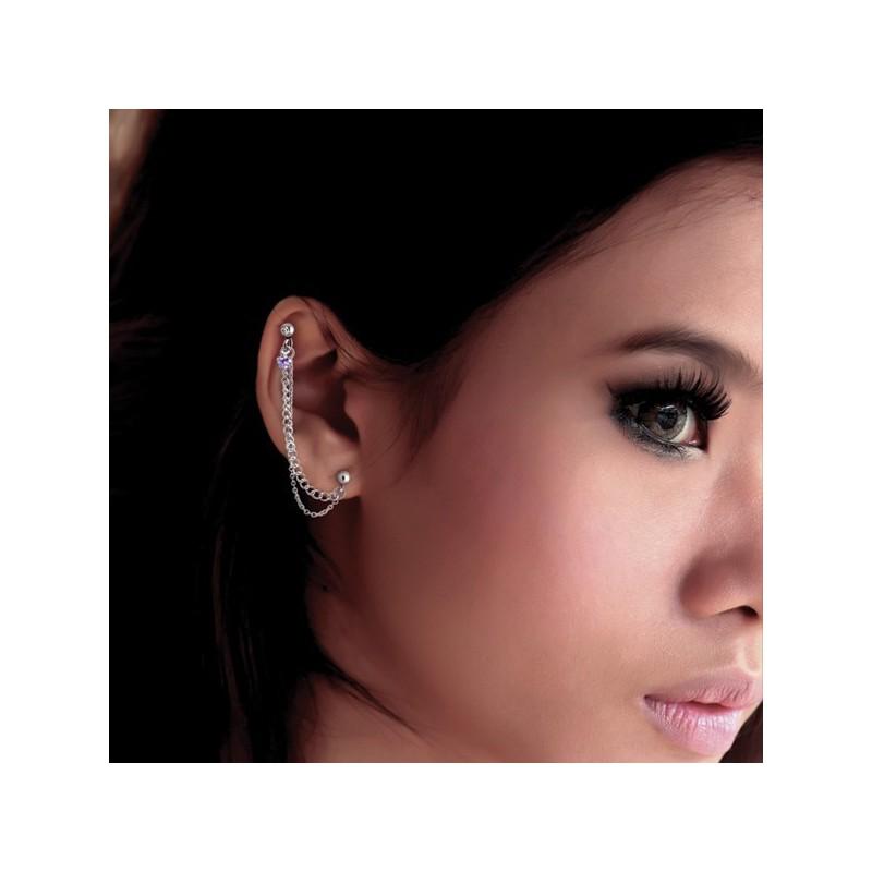 bijou chaine pour l 39 oreille acier 316l reliant lobe et cartilage avec brillant coeur tipc 111. Black Bedroom Furniture Sets. Home Design Ideas