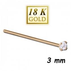 Bijou piercing nez plat avec strass 3 mm blanc griffé tige droite or 18 carats 18NOJ