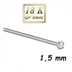 Bijou piercing nez plat avec strass 1,5 mm blanc griffé tige droite or blanc18 carats 18WNOJ2