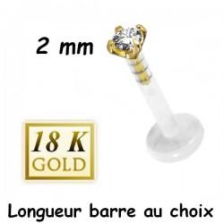Labret Bioflex ® brillant blanc (2 mm) serti or 18 carats à clipper BO18LB 7