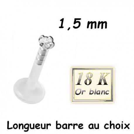 Labret Bioflex ® brillant blanc 1,5 mm serti or blanc18 carats à clipper BO18WLB 2