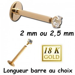 Bijou labret 1,2 mm or 18 carats avec brillant blanc 18INMLBJ