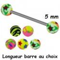 Barre 1,6 mm acier 316L boules avec motifs acrylique BLUPD 64