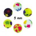 Boule acrylique fluo dessin bariolé, à visser 1,6 mm UPD 65