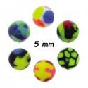 Boule acrylique fluo dessin bariolé, à visser 1,6 mm UPD 67