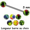 Barre 1,6 mm acier 316L boules avec différents coloris acrylique BLUPD 67