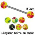 Barre 1,6 mm acier 316L boules avec différentes couleurs acrylique BLUPD 68