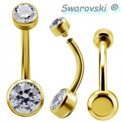 Bijou nombril double strass de Swarovski plat en titane doré or fin GPTBNJ01