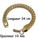 Bracelet acier dore maillon palmier double carré 10 mm HABR11D